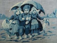 Vintage Needlepoint in Blue Tapisserie Children from Holland