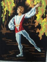 Vintage French Needlepoint Ballet Dancer