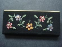 Vintage Comb Holder Petit Point on Silk Floral with Seed Pearls Germany