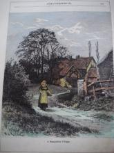 Antique Print HAnd Painted Water Color Signed