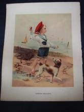 Antique Print Glossy Color Signed