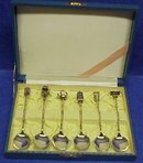 1920's Box of 6 Figural Sterling Spoons