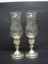 Antique Sterling Silver Candlesticks Etched Glass Chimneys Pair International Sterling