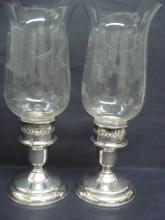 Antique Sterling Silver Candlesticks Etched Chimneys Grape Pattern Pair Birks Sterling