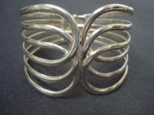 Wide Vintage Bracelet Silver Tone Perfect Gift Open Work