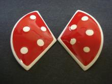 Lovely Vintage Earrings Enamel on Metal Red Enamel White Dots