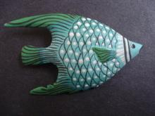 Special Vintage Brooch Pretty Blue Color Fish Hand Painted