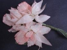 Original Vintage Fabric Flowers, Pink Orchids SIlk and Velevet Corsage