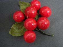 Original Vintage Brooch or Corsage  Red  Cherries  Bunch
