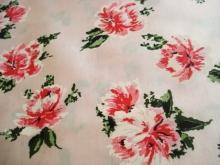 Vintage Fabrick Floral Pastel Pink Background Pink-White Flowers Satin