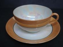 Incredible Luster Cup and Saucer by Noritake Japan Lusterware Marigold Color Teacup Set