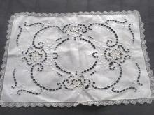 Vintage Embroidered Tray Cloth Marghab Style Embroidery Cutwork Needle Lace Filet Lace Trim
