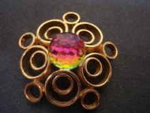 Antique Brooch - Gold tone - Round Crystal - Faceted - Colorful - Art Deco - Unsigned