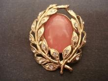 Vintage Scarf Pin Scarf Clip Pink Glass Stone Tiny Rhinestones Signed