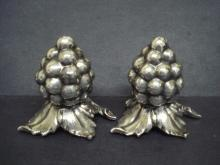 Figural Art Nouveau style Salt And Pepper Shakers Silver Grapes and Leaves Embossed Raised Plated Signed