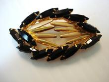 Fantastic Antique Rhinestone Brooch   Art Deco Style   Black and Gold stones   Unique Design