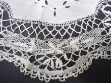 Vintage Fillet Lace Centerpiece Hand Made Exquisite Workmanship Cluny Lace Border Cutwork