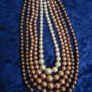 Vintage Pearl Necklace 5 Strand Necklace Beige to Brown Unique Necklace