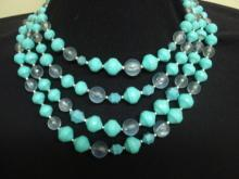Special Vintage 4 Strand Necklace Turquoise and Clear Color Beads  Lucite Beads