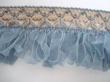 Luxurious Vintage Ribbon Trim,   Antique Light Blue Trim,  Uncommon Ribbon Trim