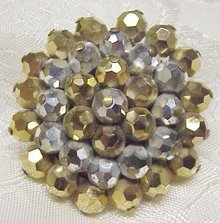 1950-60's RHINESTONE BROOCH - BROWN & SILVER