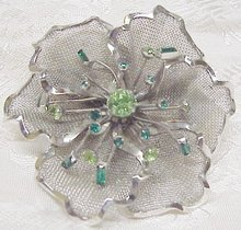 CORO STERLING MESH BROOCH