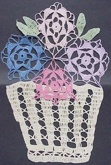 FIGURAL LACE*Pot of Flowers* FRAME IT
