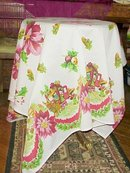 LOVELY VINTAGE CHRISTMAS TABLECLOTH POINSETTIAS /Children
