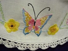LINEN RUNNER - SILK EMBROIDERY