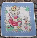 OLD CHILD'S HANKY HANKIE- MOTHER CAT&KITTENS