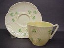 Delicate IRISH BELLEEK CUP and SAUCER - SHAMROCK