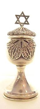 STERLING JUDAICA TINY GOBLET/LID