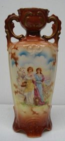 Fantastic Antique Vase   Ornate   Fancy Handle Raised Decorations   Czechoslovakia