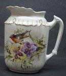 PRETY ANTIQUE JUG - IRISES&TINY BIRD