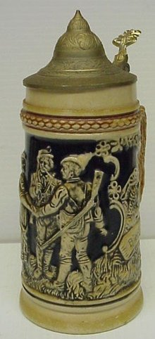 OLD GERMAN STONEWARE BEER STAIN - MUG