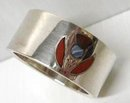 STERLING NAPKIN RING INLAID AGATE THISTLE