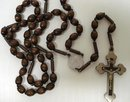 OLD ROSARY FINE SMALL WOODEN BEADS