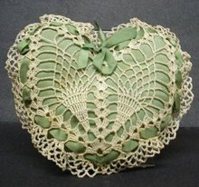 LOVELY  ANTIQUE PIN CUSHION-LACE&RIBBONS