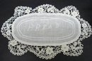 UNIQUE  - EMBROIDER/LACE BREAD TRAY DOILY
