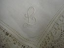 ANTIQUE WEDDING HANKIE - MONOGRAM - L