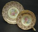COTTAGE CHIC - GOLD GILT -  CUP and SAUCER