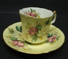 COTTAGE CHIC - ROSES -  CUP and SAUCER
