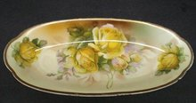 COTTAGE CHIC YELLOW ROSES OVAL DISH