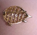 QUALITY OPEN WORK BROOCH - PORCUPINE