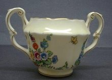 Crown Staffordshire Sugar Bowl-HOLLYHOCK