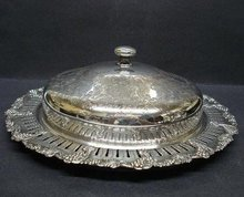 ANTIQUE SILVER SERVING DISH with LID