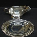 ANTIQUE SILVER PLATED GRAVY BOAT&TRAY