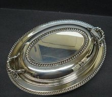 SILVER OVAL SERVING DISH&LID