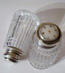 CRYSTAL & STERLING - SALT & PEPPER SHAKERS