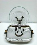 40's DECO CHROME/BAKELITE  SERVING DISH